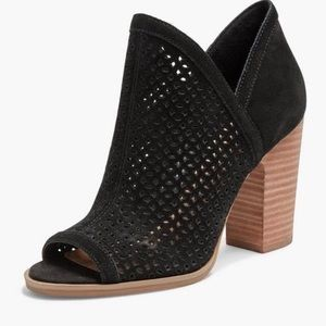 Lucky Brand Lively Open Toe Bootie Black Suede